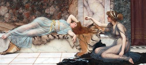 pinturas-de-retratos - Quadro -Mischief and Repose- - Godward, John William
