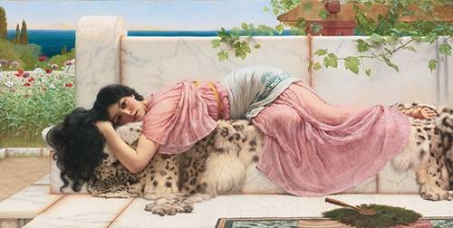 pinturas-de-retratos - Quadro -When the heart is young, 1902- - Godward, John William