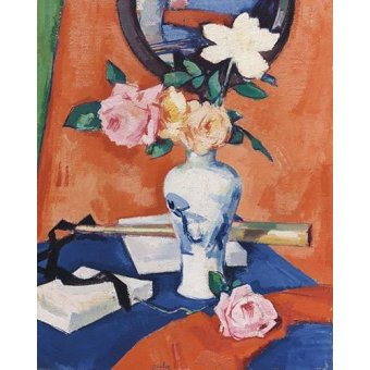 quadros de flores - Quadro -Roses in a vase against an orange background- - Peplow, Samuel
