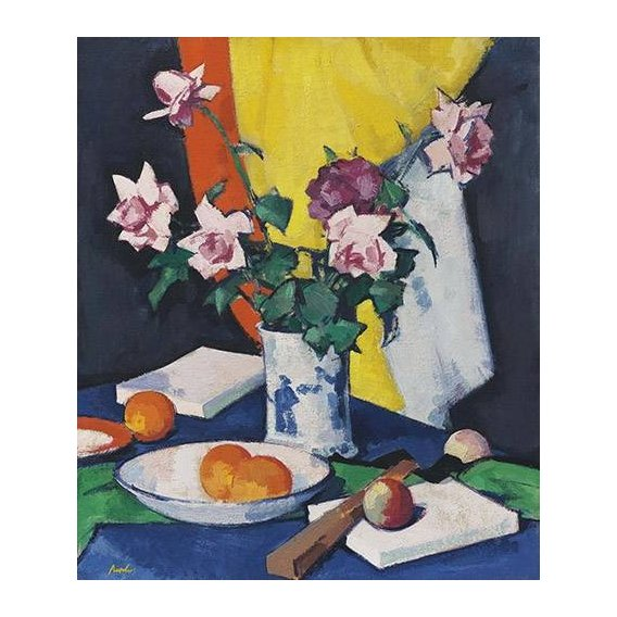 Quadro -Red and pink roses, oranges and fan-