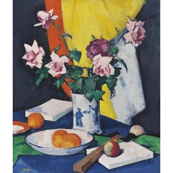 Still life paintings - Picture -Red and pink roses, oranges and fan- - Peplow, Samuel