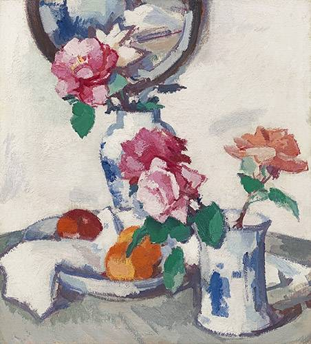naturezas-mortas - Quadro -Still life with roses and fruit- - Peplow, Samuel