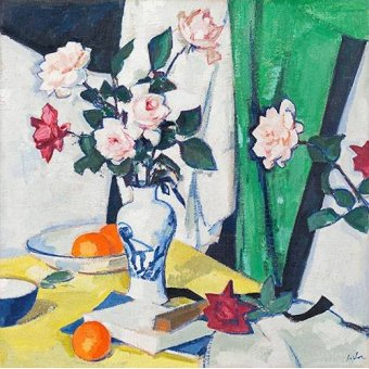 cuadros de bodegones - Cuadro -Pink and red roses in a Chinese vase- - Peplow, Samuel