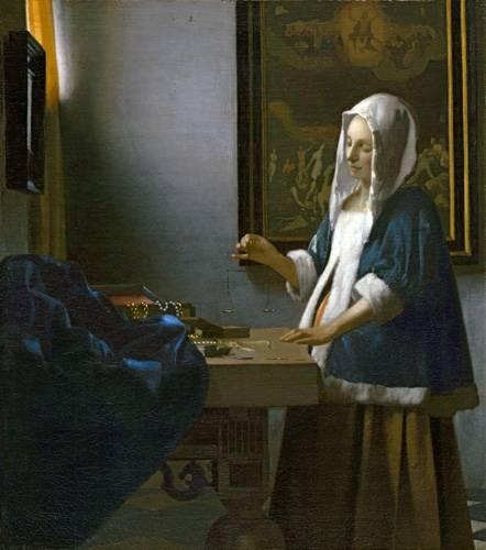 pinturas-de-retratos - Quadro -Woman Holding a Balance- - Vermeer, Johannes