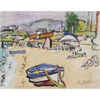 quadros de paisagens marinhas - Quadro -On the beach, South of France- - Hunter, G.L.