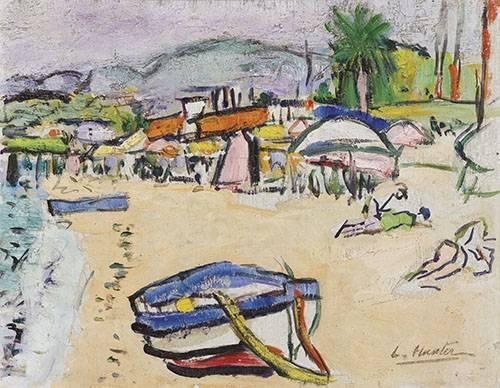 quadros-de-paisagens-marinhas - Quadro -On the beach, South of France- - Hunter, G.L.