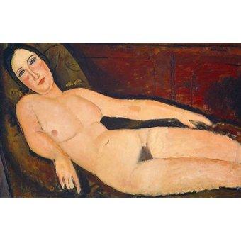 quadros nu artistico - Quadro -Nude on a Divan, 1918- - Modigliani, Amedeo