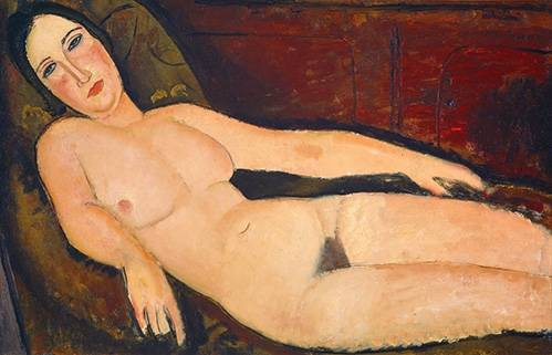 pinturas-de-retratos - Quadro -Nude on a Divan, 1918- - Modigliani, Amedeo