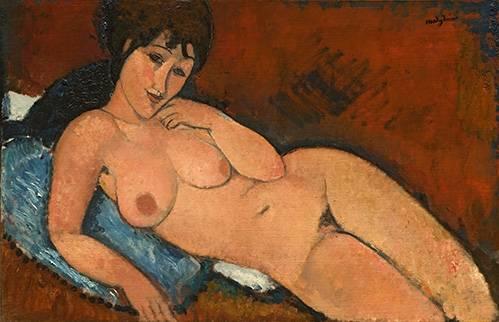 pinturas-de-retratos - Quadro -Nude on a Blue Cushion- - Modigliani, Amedeo