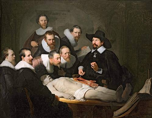 pinturas-de-retratos - Quadro -Lição de Anatomia do Prof. Nicolaes Tulp- - Rembrandt, Hermensz Van Rijn