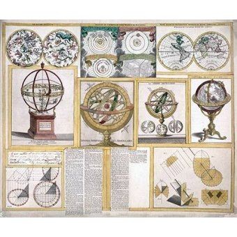 cuadros de mapas, grabados y acuarelas - Cuadro -James Ferguson, 1770 - Collection of nine images including astronomical instruments, celestial charts, and a world map- - Mapas antiguos