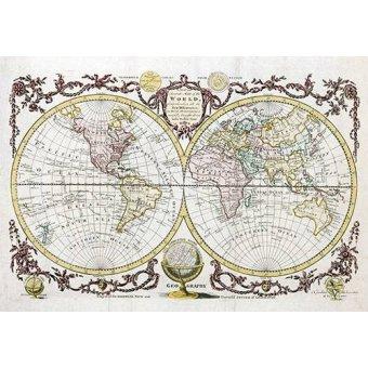 imagens de mapas, gravuras e aquarelas - Quadro -Baldwyn, 1782 - Map of the World- - Mapas antiguos