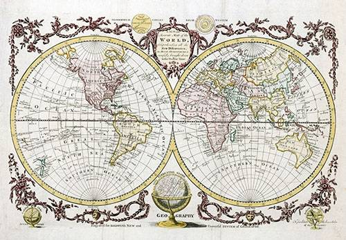 imagens-de-mapas-gravuras-e-aquarelas - Quadro -Baldwyn, 1782 - Map of the World- - Mapas antiguos - Anciennes cartes