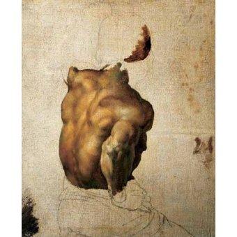 pinturas de retratos - Quadro -Estudio de torso- - Gericault, Theodore