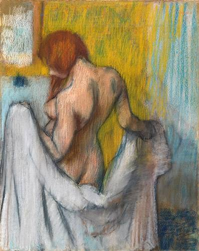 pinturas-de-retratos - Quadro -Woman with a towel- - Degas, Edgar