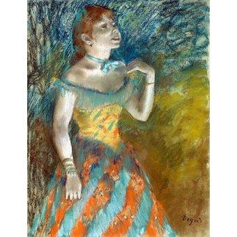 pinturas de retratos - Quadro -Cantora em verde- - Degas, Edgar