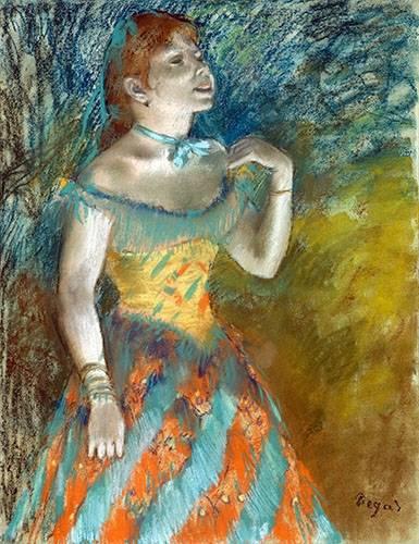 pinturas-de-retratos - Quadro -Cantora em verde- - Degas, Edgar