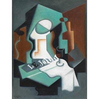 cuadros de bodegones - Cuadro -Botella y frutero, 1919- - Gris, Juan