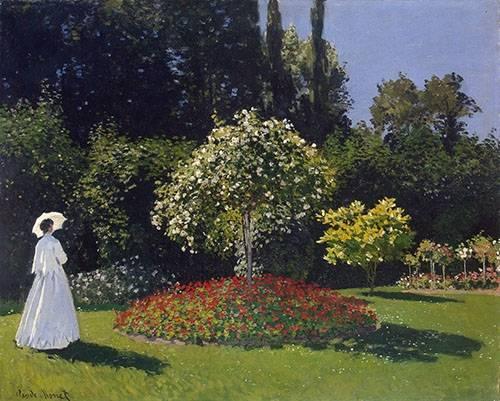 quadros-de-paisagens - Quadro -Woman in a Garden, 1867 - - Monet, Claude
