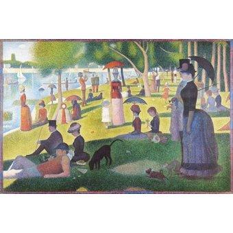 pinturas de retratos - Quadro -Domingo á tarde- - Seurat, Georges