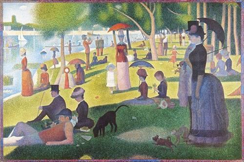 pinturas-de-retratos - Quadro -Domingo á tarde- - Seurat, Georges