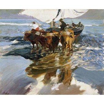 quadros de paisagens marinhas - Quadro -Retorno da pesca, praia de Valência- - Sorolla, Joaquin