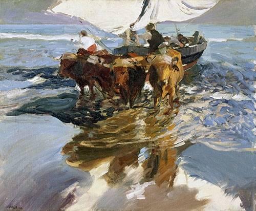 quadros-de-paisagens-marinhas - Quadro -Retorno da pesca, praia de Valência- - Sorolla, Joaquin