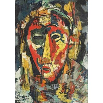 Quadros abstratos - Quadro -The green eye mask, head, 1914- - Souza-Cardoso, Amadeo de