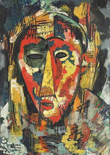 quadros-abstratos - Quadro -The green eye mask, head, 1914- - Souza-Cardoso, Amadeo de