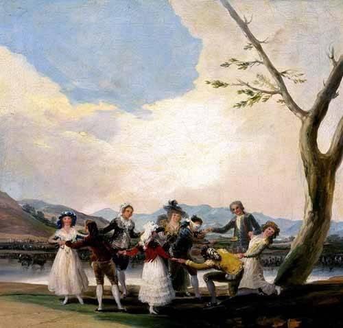 pinturas-de-retratos - Quadro -La gallina ciega- - Goya y Lucientes, Francisco de