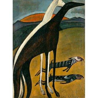 quadros de animais - Quadro -Os Galgos- - Souza-Cardoso, Amadeo de