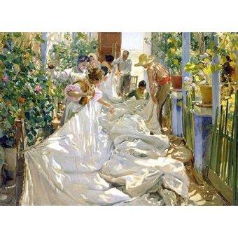 pinturas de retratos - Quadro -Cosiendo la vela, 1896- - Sorolla, Joaquin