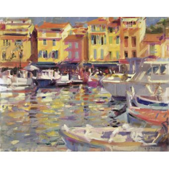 - Quadro -Harbour at Cassis (oil on canvas) - - Graham, Peter