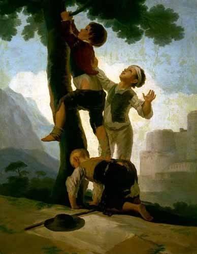 cuadros de retrato - Cuadro -Niños trepando a un árbol- - Goya y Lucientes, Francisco de
