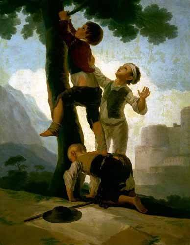 pinturas de retratos - Quadro -Niños trepando a un árbol- - Goya y Lucientes, Francisco de