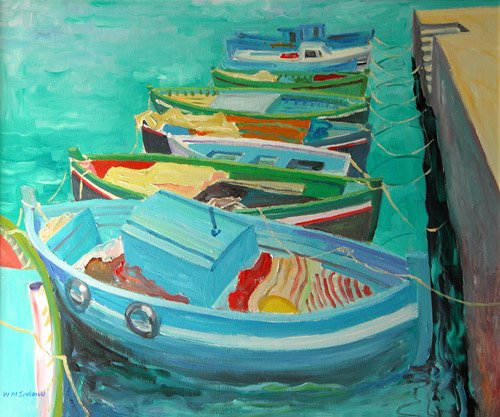 quadros-modernos - Quadro -Blue Boats, 2003- - Ireland, William