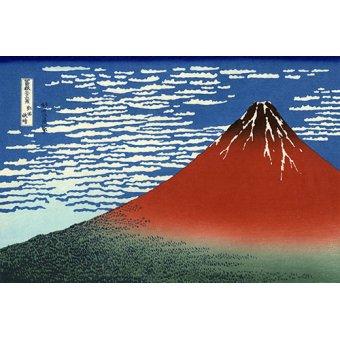 quadros étnicos e orientais - Quadro -Red Fuji II- - Hokusai, Katsushika