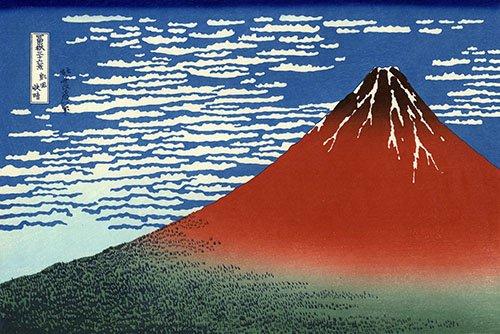 quadros-etnicos-e-orientais - Quadro -Red Fuji II- - Hokusai, Katsushika