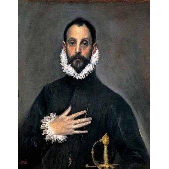 pinturas de retratos - Quadro -El caballero de la mano en el pecho(1577-84)- - Greco, El (D. Theotocopoulos)