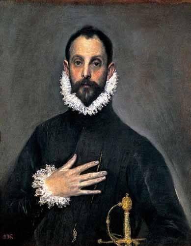 cuadros de retrato - Cuadro -El caballero de la mano en el pecho(1577-84)- - Greco, El (D. Theotocopoulos)