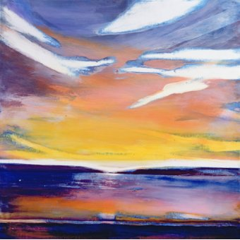 Quadros abstratos - Quadro -Evening Seascape (mixed media)- - Gibbs, Lou