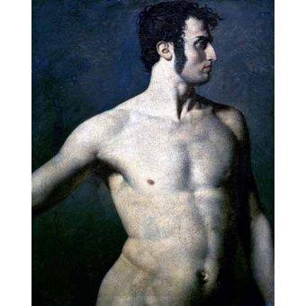 quadros nu artistico - Quadro -Torso de hombre- - Ingres, Jean-Auguste-Dominique