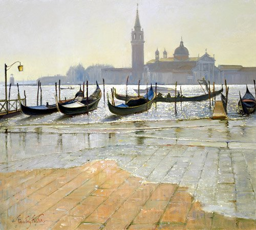 quadros-de-paisagens-marinhas - Quadro -Venice at Dawn (oil on canvas)- - Easton, Timothy