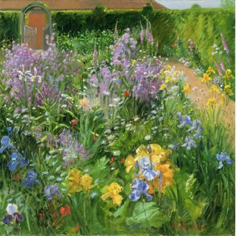 quadros de flores - Quadro -Sweet Rocket, Foxgloves and Irises, 2000 - - Easton, Timothy