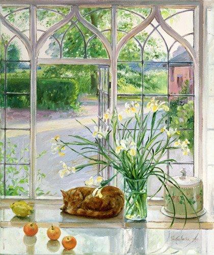 naturezas-mortas - Quadro - Irises and Sleeping Cat, 1990 - - Easton, Timothy