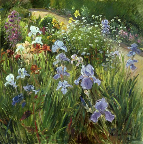 quadros-para-sala - Quadro - Irises and Oxeye Daisies, 1997 - - Easton, Timothy