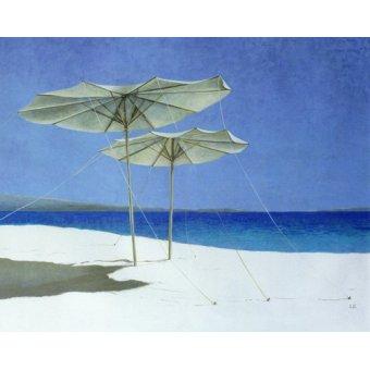 quadros de paisagens marinhas - Quadro -Umbrellas, Greece, 1995 - - Seligman, Lincoln