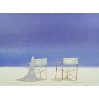 quadros de paisagens marinhas - Quadro -Chairs on the beach, 1995 - - Seligman, Lincoln
