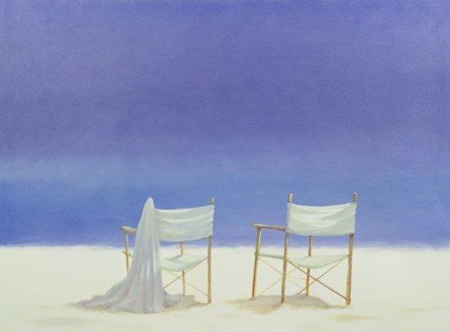 quadros-de-paisagens-marinhas - Quadro -Chairs on the beach, 1995 - - Seligman, Lincoln