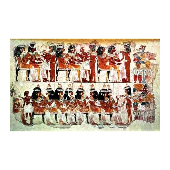 ethnic and oriental paintings - Picture -Fresco en Thebes,- Banquete --